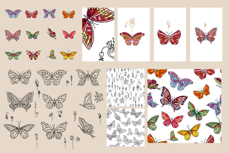 butterfly background: Set with different butterflies. For your design
