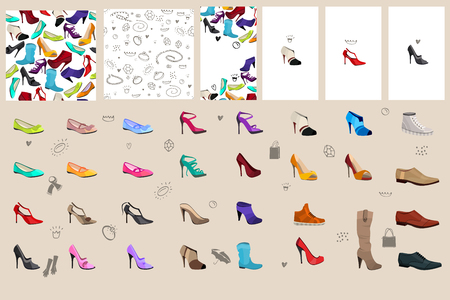 shoes woman: Set with woman shoes. For fashion design