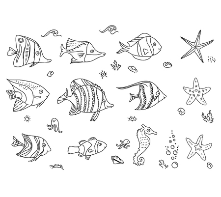 fish type: Set with sea fishes. Black and white. Illustration