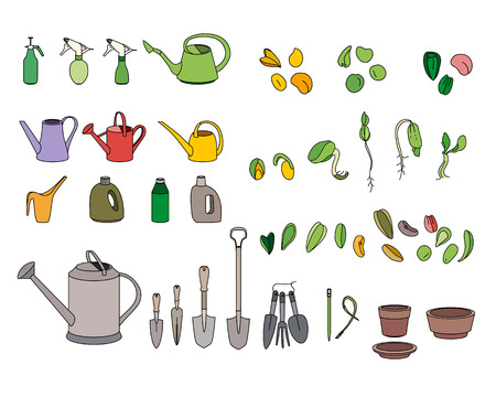 gardening equipment: Set with seeds, garden tools and equipment. For your design Illustration