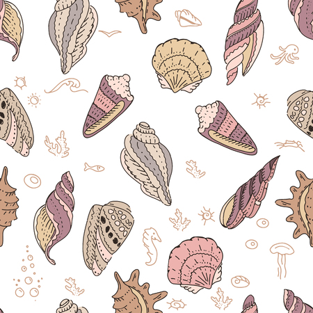 beach wrap: Seamless pattern with shells on white background