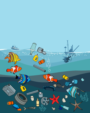 sea pollution: Water pollution in the ocean. Garbage and waste. Fish death. Eco concept.
