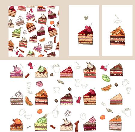 porcion de torta: Set con diferentes rebanadas de pastel de frutas.