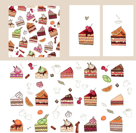 Set with different fruit cake slices.