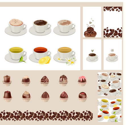 taste: Set with different  cups with tea and coffee. Different taste.