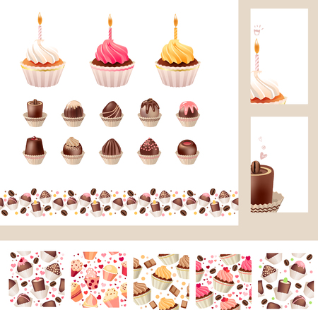 cake background: Set with different muffins and sweetmeats. Birthday cakes