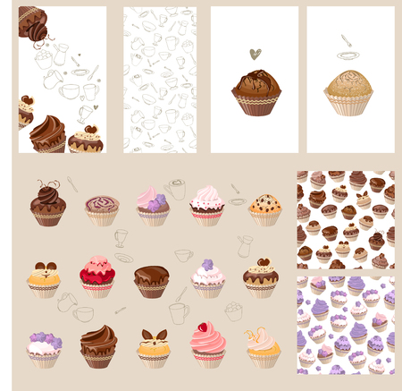 cake background: Detailed set with different muffins. Birthday cakes