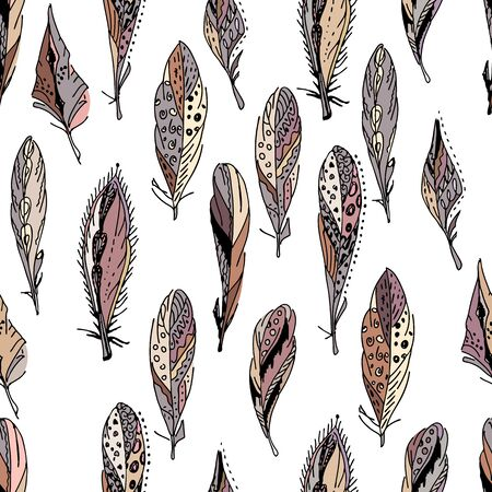 bird feathers: Seamless pattern with feathers.  Endless texture for your design