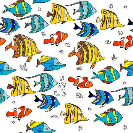 amphiprion: Simple seamless pattern with coral fishes. Endless texture for your design, announcements, postcards, posters. Illustration
