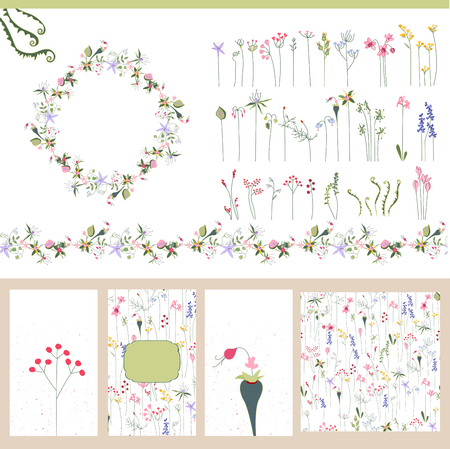 garlands: Floral summer templates. For romantic design