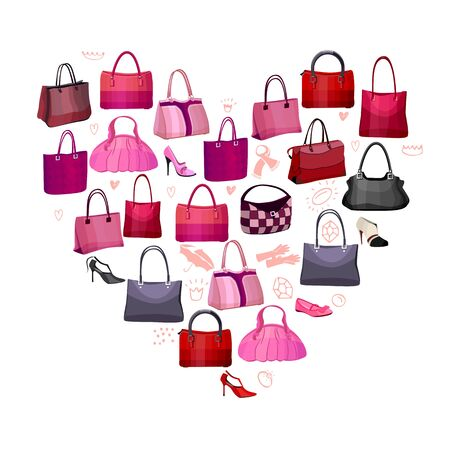 woman accessories: Heart made of woman bags and accessories Illustration