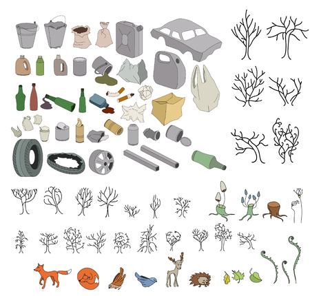mundo contaminado: Diferentes tipos de basura en los bosques y la fauna aislados en blanco