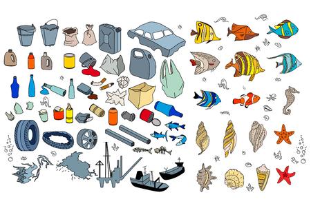 basura: Diferentes tipos de basura en los océanos, mar. Destraction de los arrecifes de coral, la muerte de los peces tropicales. Aislado en blanco Vectores