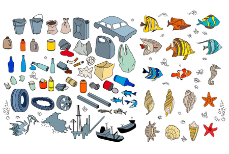 Different kinds of garbage in oceans, sea. Destraction of coral reefs, death of tropic fishes. Isolated on white Stock Illustratie