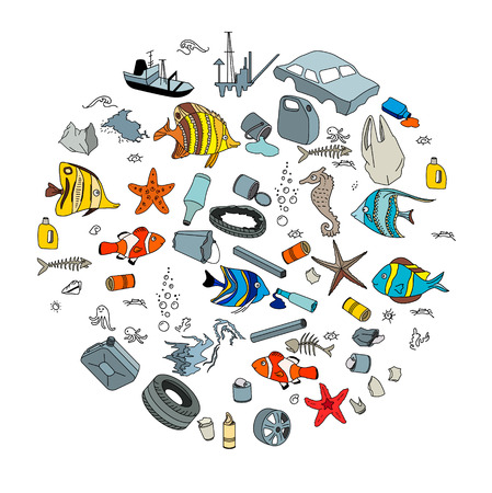 bomba de agua: La contaminación del agua en el océano. La basura y los residuos. Concepto de Eco. Vectores
