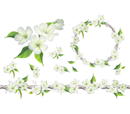 Blossoming branch of apple tree. Endless patttern brush, round garland.