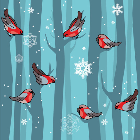 small flock: Seamless winter blue pattern with red bullfinches and trees. For festive design, announcements, greeting cards, postcards, posters.