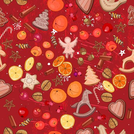 mandarins: Seamless dark red with traditional Christmas elements - cookies and fruits. For festive design, announcements, greeting cards, postcards, posters. Illustration