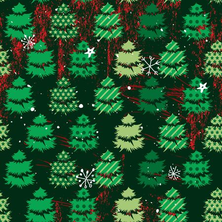 align: Seamless dark green pattern with traditional Christmas trees. For festive design, announcements, greeting cards, postcards, posters. Illustration