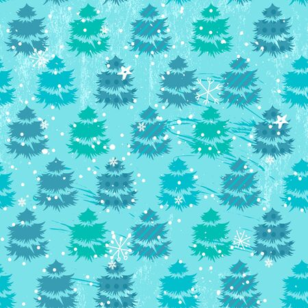 fir trees: Seamless blue pattern with fir trees Illustration