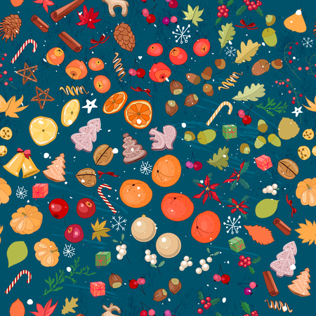 mandarins: Seamless vintage dark blue pattern with traditional Christmas elements. Endless texture for your design, announcements, greeting cards, postcards, posters. Illustration