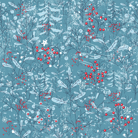 scrape: Seamless vintage blue pattern with winter forest. Endless texture for your design, announcements, greeting cards, fabrics, wallpapers,postcards, posters.