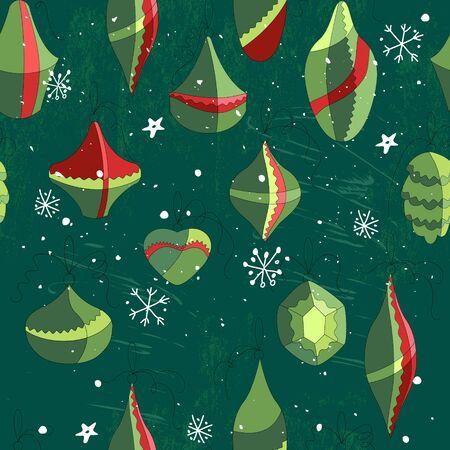 endlos: Nahtlose Jahrgang grün Muster mit traditionellen Weihnachtsschmuck. Endlose Textur für Ihr Design, Ankündigungen, Grußkarten, Postkarten, Plakate.