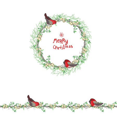 christmas garland: Christmas template with bullfinches and white beries. Round frame with fir branches