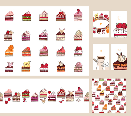 fruit cake: Set with different  fruit cake slices. Different taste and color.