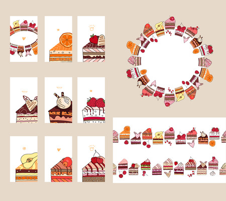 rebanada de pastel: Plantillas con diferentes rebanadas de pastel de frutas. Diferente sabor y color.