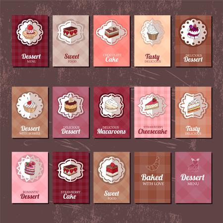 Modèles avec différents types de dessert. gâteau, muffin, Macaron, tarte. Pour votre conception, annonces, cartes postales, affiches, menu du restaurant.