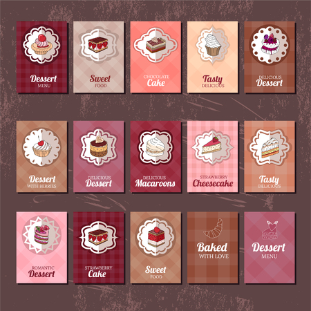 dessert: Templates with different kinds of dessert. cake, muffin, macaroon, pie. For your design, announcements, postcards, posters, restaurant menu. Illustration