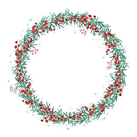 enebro: Navidad corona redonda con ramas de abeto y copos de nieve aislados en blanco. Sin fin cepillo patrón vertical. Por diseño festivo, anuncios, postales, carteles.
