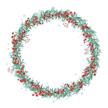 juniper tree: Round Christmas wreath with spruce branches and snowflakes isolated on white.  Endless vertical pattern brush.  For festive design, announcements, postcards, posters.