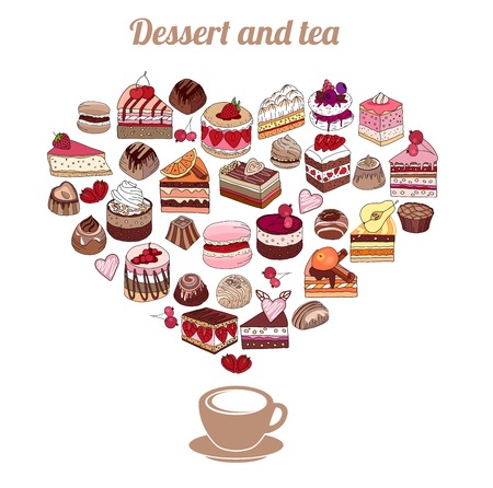 Symbol Heart made of different desserts. Cake, muffin, macaroon, pie, candy. Illustration