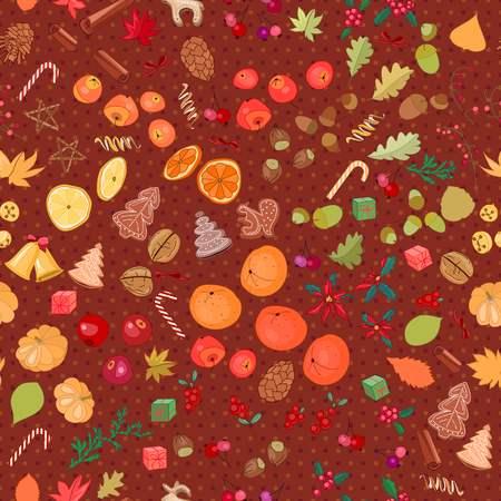 apple cinnamon: Seamless pattern with fruits and  berries Illustration