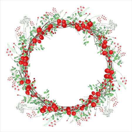 red berries: Round frame with red berries on white