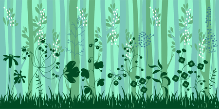 forest landscape: Seamless horizontal pattern with herbs and trees. Endless pattern brush with stylized forest Illustration