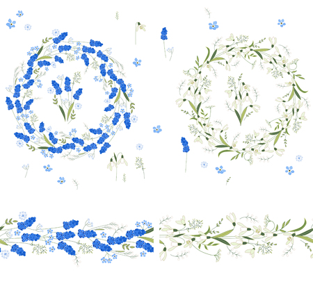 snowdrops: Two floral round garlands and endless pattern brushes made of muscari and snowdrops. Flowers for romantic and easter design, decoration,  greeting cards, posters, advertisement.