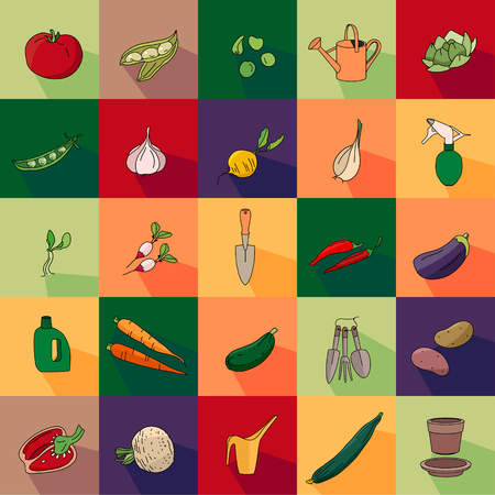 endlos: Nahtlose Muster mit verschiedenen Gemüse und Gartengeräte. Endlose Textur für Ihr Design, Ankündigungen, Postkarten, Plakate, advetisement.