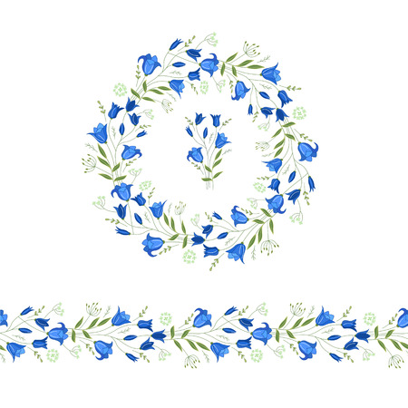 campanula: Floral round garland and endless pattern brush made of bluebells. Flowers for romantic and easter design, decoration,  greeting cards, posters, advertisement.