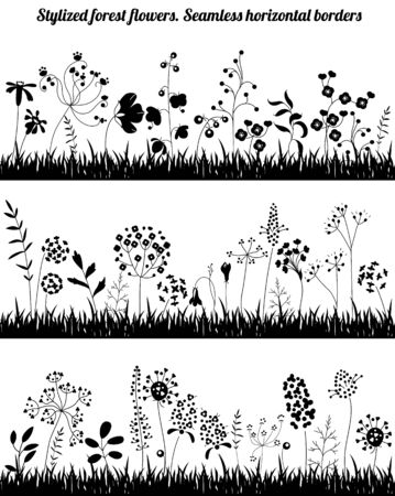 borders plants: Seamless horizontal borders with stylized growing plants. Black  silhouette. Endless textures for your design, romantic greeting cards, announcements, posters.