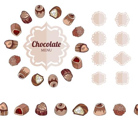 luxo: Diferentes bombons de chocolate no branco. Quadro, beira horizontal sem costura. Para o seu projeto, an