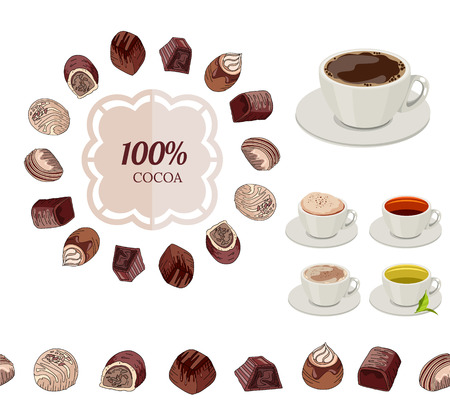 sweetmeats: Different chocolate candies and cups of tea and coffee on white. Frame, seamless horizontal border.  For your design, announcements, cards, posters, restaurant menu. Illustration