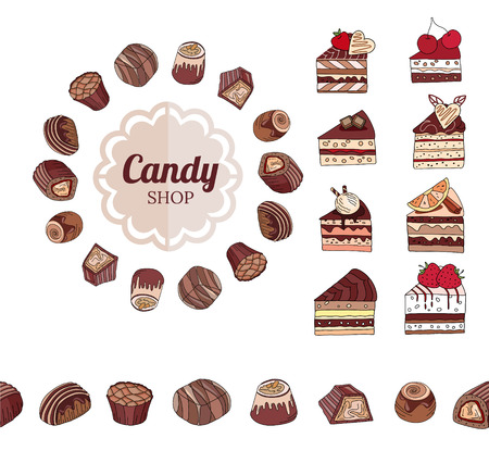 sweetmeats: Different chocolate candies and slices of cake on white. Frame, seamless horizontal border.  For your design, announcements, cards, posters, restaurant menu.