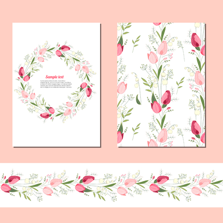 simple meal: Floral spring templates with cute bunches of tulips. Endless horizontal  pattern brush. For romantic and easter design, announcements, greeting cards, posters, advertisement. Illustration