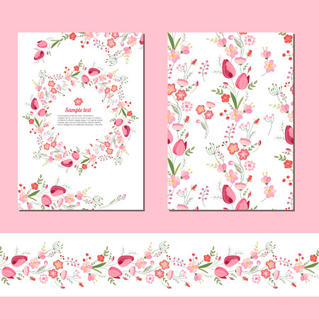 pink flowers: Floral spring templates with cute bunches of red tulips. Endless horizontal  pattern brush.  For romantic and easter design, announcements, greeting cards, posters, advertisement. Illustration