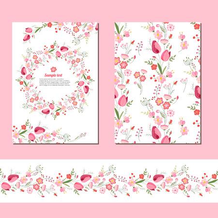modèles de printemps floraux avec des grappes mignonnes de tulipes rouges. Sans fin motif brosse horizontal. Pour la conception romantique et pâques, annonces, cartes de voeux, affiches, publicité.