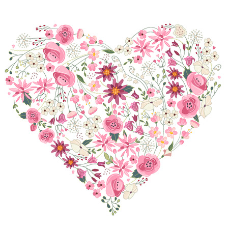 Stylized summer flowers - heart with pink and red flowers on white