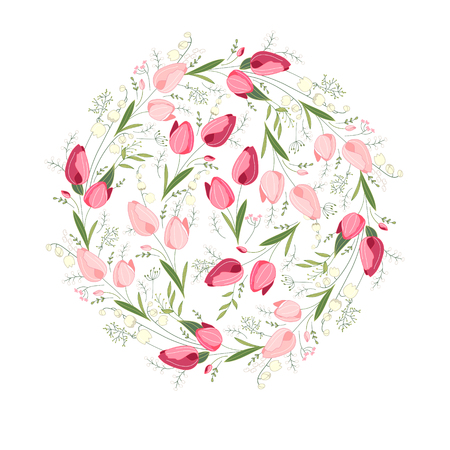 modest: Floral spring templates with cute bunches of tulips. Endless horizontal  pattern brush. For romantic and easter design, announcements, greeting cards, posters, advertisement. Illustration